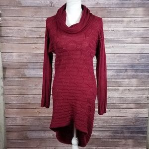 Design History Red Cowl Knit HighLow Sweater Dress